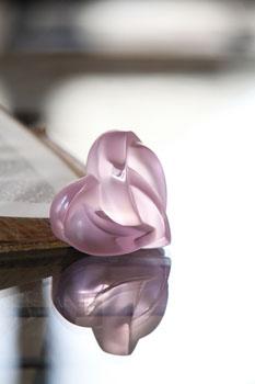 مجسمه قلب کریستال صورتی14 6.5X سانتی متری