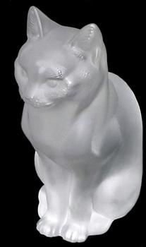 مجسمه  کریستال شفاف 10 21X سانتی متری گربه نشسته