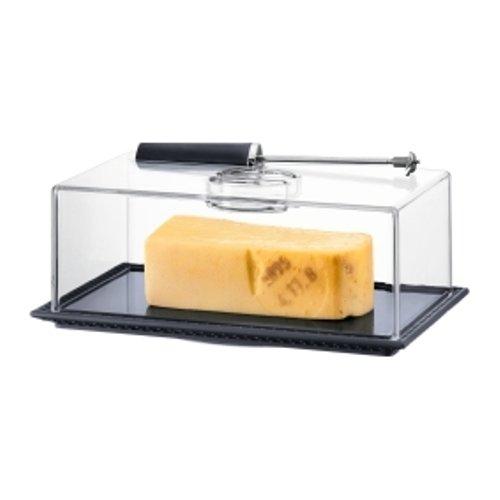 ظرف نگهداری و چاقوی پنیر ورقه ساز خاکستری بیسترو