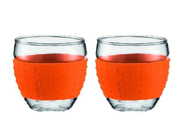 ست 2عددی لیوان شیشه ای نارنجی 100 میلی لیتری پاوینا