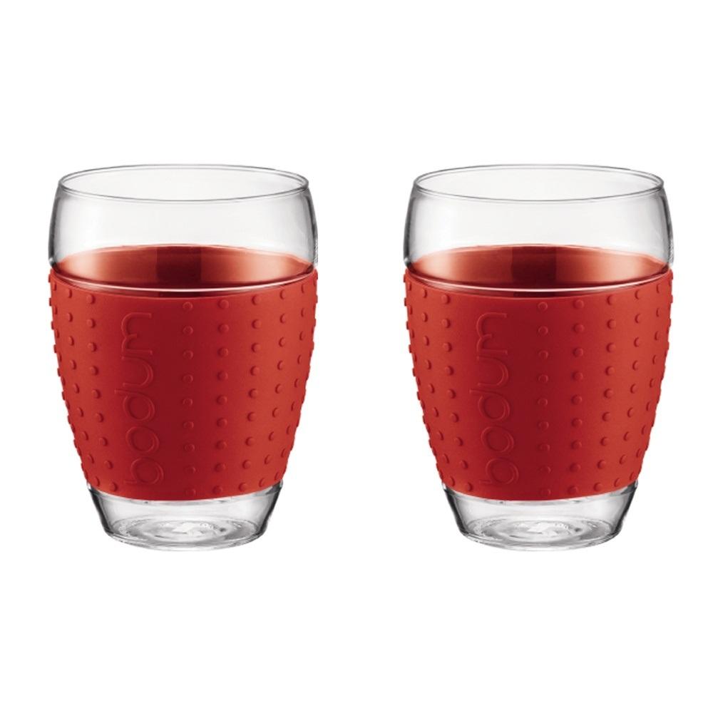 ست 2عددی لیوان شیشه ای قرمز 450 میلی لیتری پاوینا