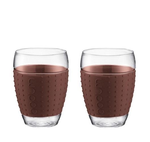 ست 2 تایی لیوان شیشه ای قهوه ای 450 میلی لیتری پاوینا