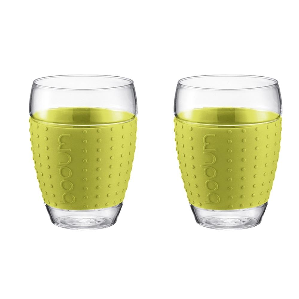 ست 2عددی لیوان شیشه ای سبز 450 میلی لیتری پاوینا