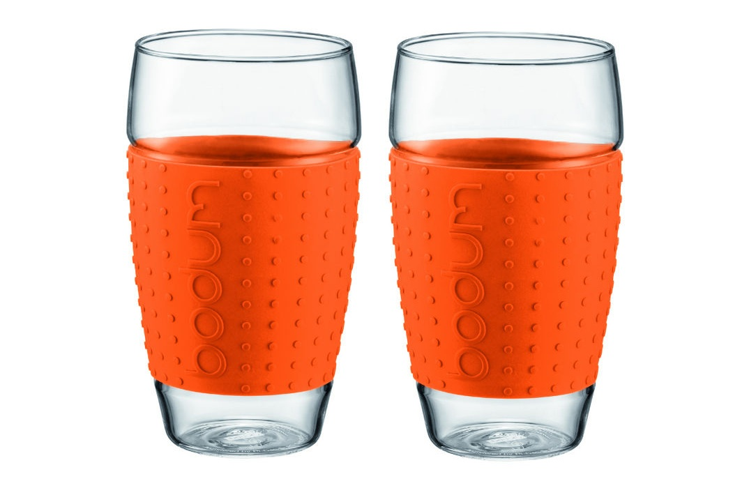 ست 2عددی لیوان شیشه ای نارنجی 600 میلی لیتری پاوینا