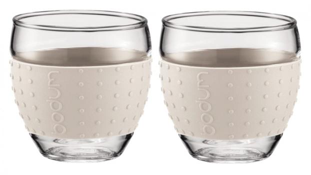 ست 2عددی لیوان شیشه ای سفید 450 میلی لیتری پاوینا