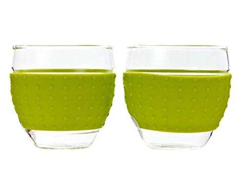 ست 2عددی لیوان شیشه ای سبز 350 میلی لیتری پاوینا