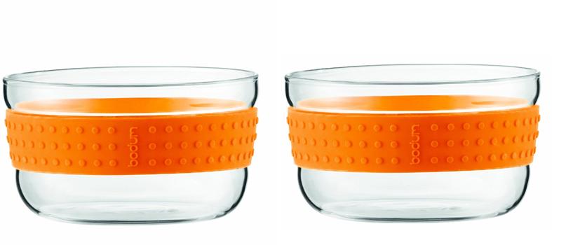 ست 2عددی کاسه شیشه ای کوچک نارنجی پاوینا