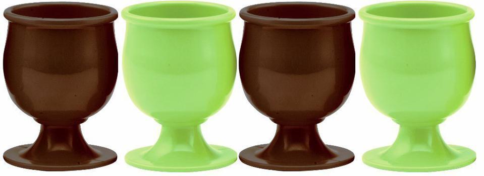 ست 4عددی جای تخم مرغ سبز-قهوه ای