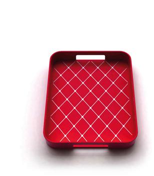 سینی لغزه گیردار مستطیل ملامین قرمز 33x26 سانتیمتری گالری