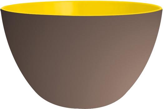کاسه در دار خاکی و زرد 18 سانتی متری