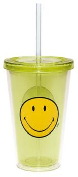 لیوان دوجداره با طرح لبخند سبز