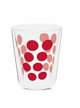 لیوان دوجداره شیشه ای قرمز 200 میلی لیتری