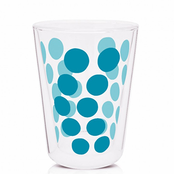 لیوان دوجداره شیشه ای آبی 350 میلی لیتری