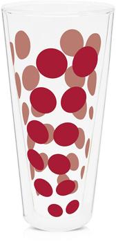لیوان دوجداره شیشه ای قرمز350 میلی لیتری