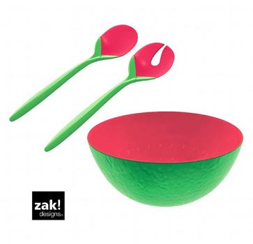 ست قاشق و چنگال سرو سالاد دو رنگ صورتی/سبز